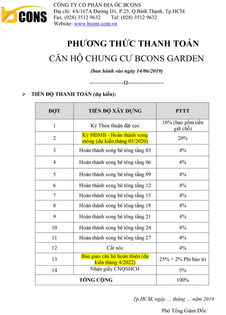 Phương thức thanh toán căn hộ bcons garden dĩ an