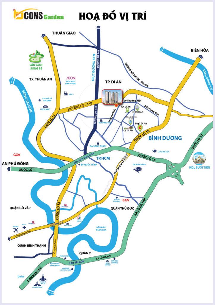 Bản đồ vị trí căn hộ bcons garden dĩ an