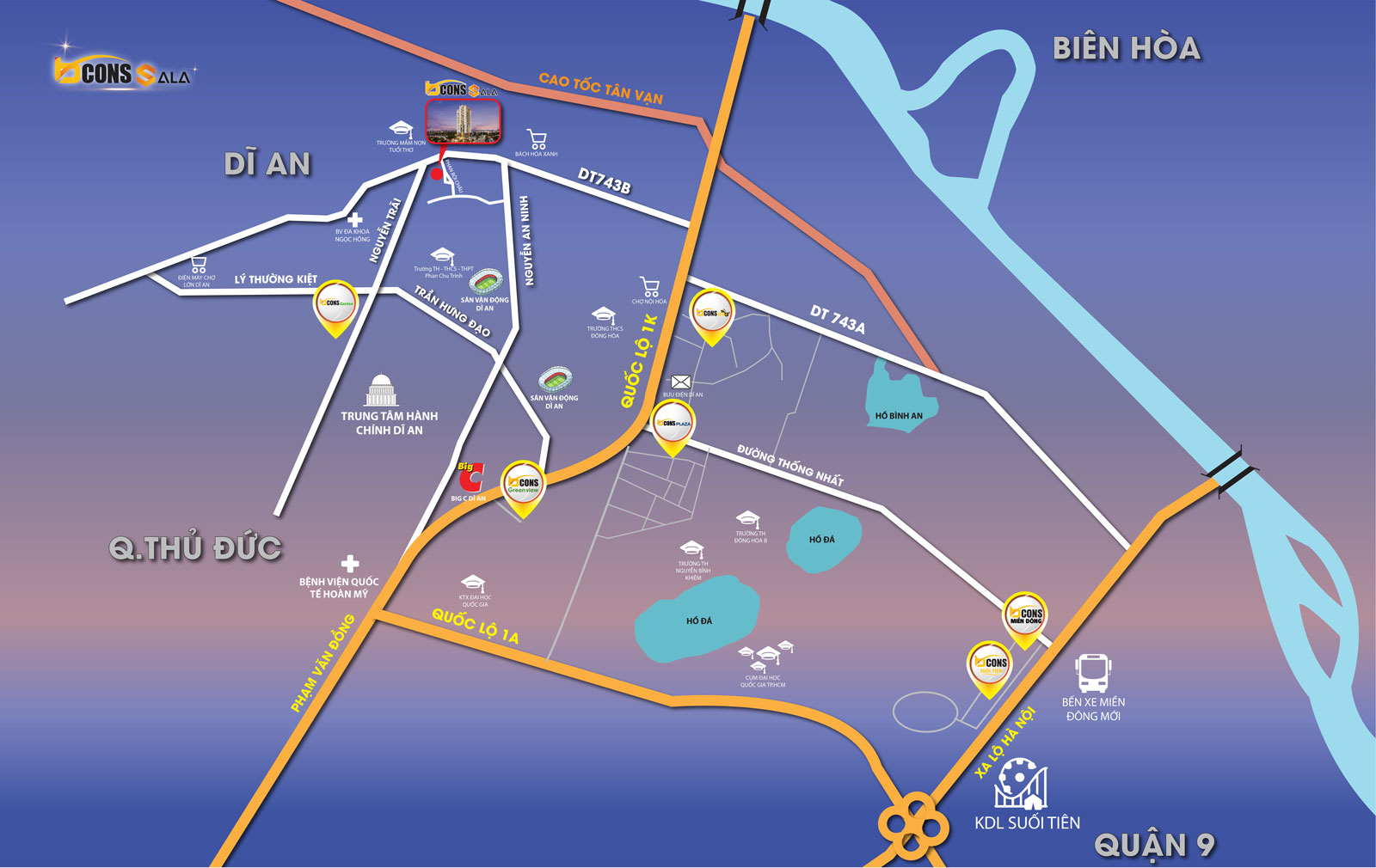 vị trí căn hộ bcons sala